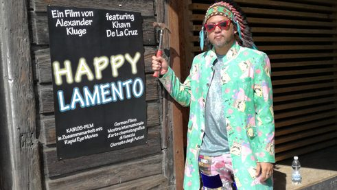 "Khavn de la Cruz promoting the film ""Happy Lamento"""