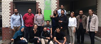 The participants of the Cultural Academy Libya 2017 and Judith Mirschberger, director of the Goethe-Institut Tunis, in Berlin.