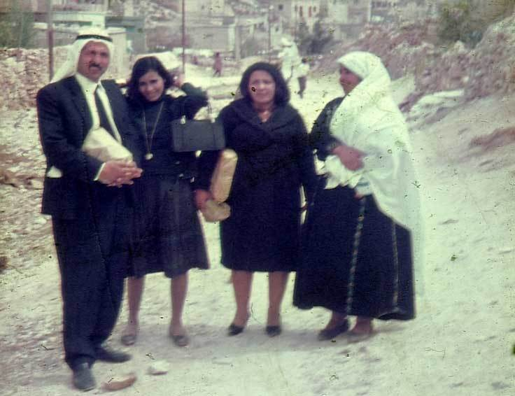 From the left: Great-uncle Awad, aunts Sofia and Fawzia, and grandmother Tamam in Nablus, Palestine, 1968