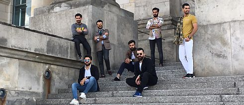 The gentlemen (from left to right): Koran Bishtiwan, Hevar Mohammad, Newa Faris, Hezin Mereen, Omer Rafiq, Mohammed Abdulkhaliq, Rawa Ali