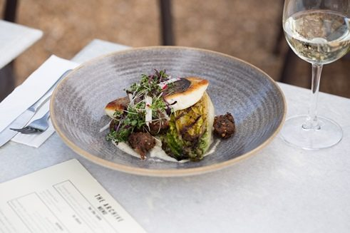 Archive's line caught snapper on smoked aubergine with grilled cos lettuce and radish salad