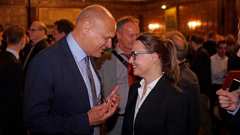 Johannes Ebert conversing with Michelle Müntefering, Minister of State for International Cultural Policy