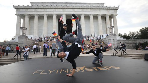 Dance performance by the Flying Steps in front of the Lincoln Memorial