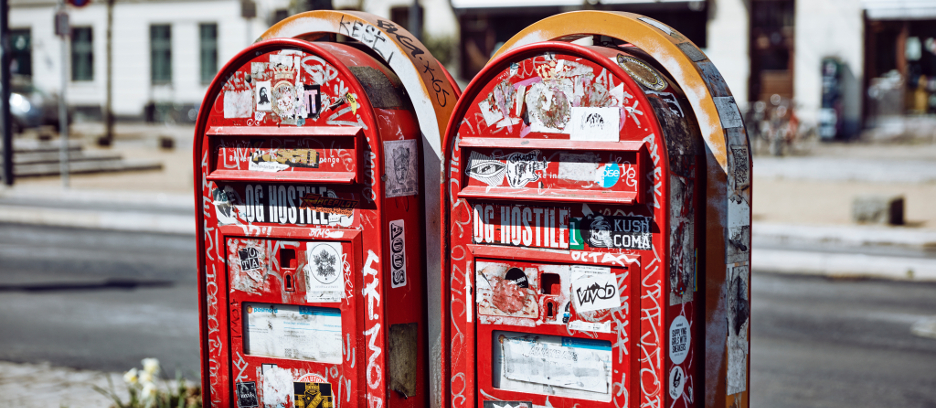 Two red mailboxes