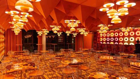 The orange-coloured Spiegel canteen was a gift to the museum