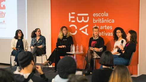 "Panel de debate ""Women in the Industry"", (de izq. a der.): Sol Sanchez, Juliana Montes, Ricarda Messner, Caia Hagel, Isabella Rodolfo, Marina Pecoraro"