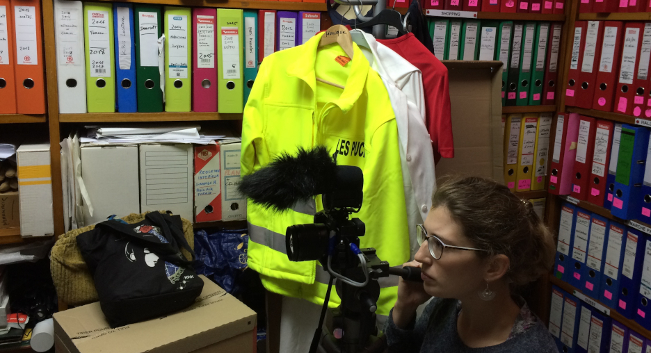 "Lena Birkhold filming in the office of ""Le marché aux puces"", Marseille"