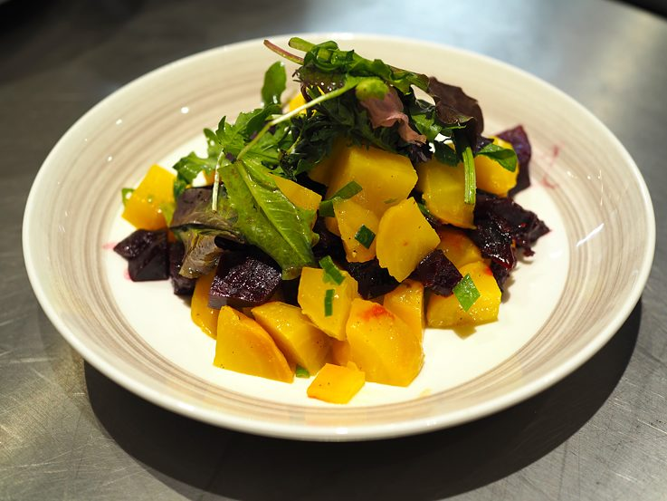 Red and yellow beet salad