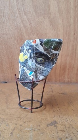 Berlin Rocks 2018, 1 of 3. Paper mache, copper stand