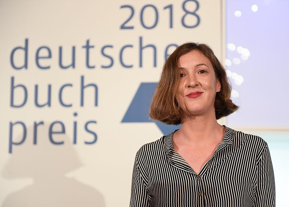 Winning author Inger-Maria Mahlke at the 2018 German Book Prize award ceremony.