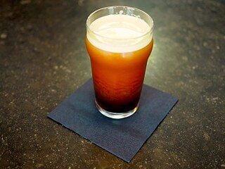 Nitro coffee (on-tap cold brew coffee enriched with nitrogen)
