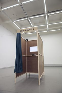 The voting booth where the voter's physiognomy is scanned.