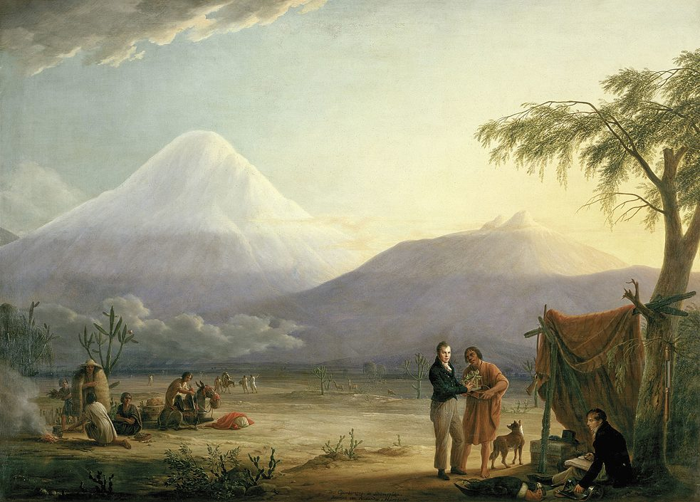 Humboldt with researcher friend Aimé Bonpland in front of the Chimborazo