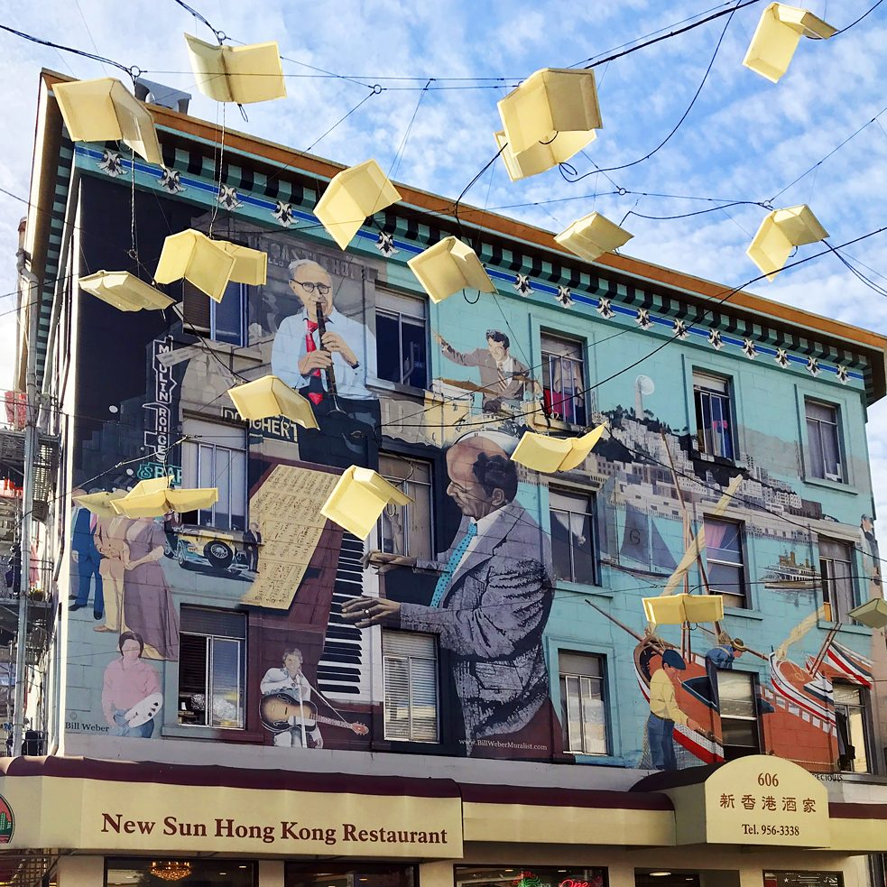 "#artbits - ""Jazz Mural"" by Bill ""El Gallo"" Weber,  606 Broadway North Beach in San Francisco"