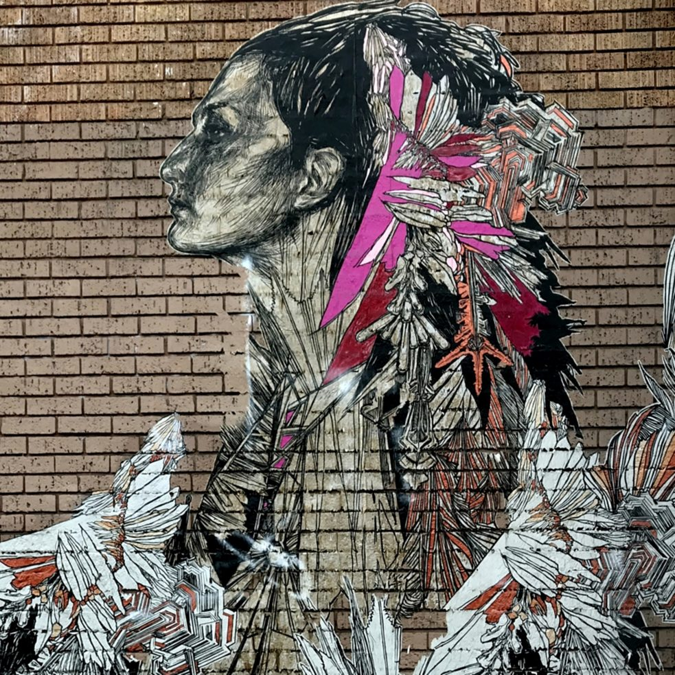 "#artbits - Swoon ""Ice Queen"",  (cut paper wheatpaste / Detail) on 24th and Hampshire in San Francisco SF"