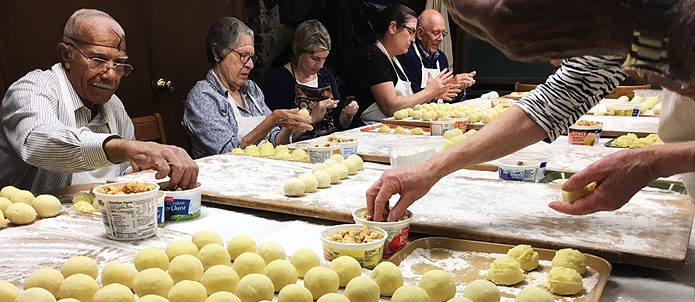 Volunteers make about 4,000 dumplings for the annual Sour Beef dinner at the Zion Church of Baltimor
