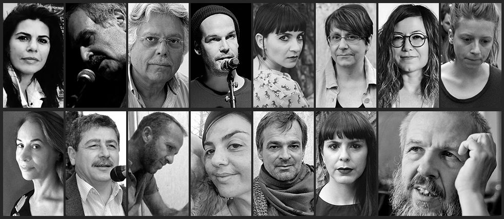 Crossing – Trilingual Poetry Reading; from left to right: Nafia Akdeniz, Zeki Ali, Melitis Apostolides, Max Czollek, Senem Gökel, Kerstin Hensel, Emel Kaya, Tabea Xenia Magyar, Lily Michaelides, Tamer Öncül, Kostas Patinios, Maria Siakalli, Achim Wagner, Marilena Zackheos, Gerd Adloff