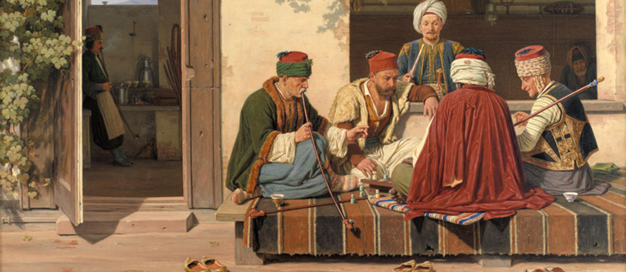 A game of chess in front of a Turkish coffee house and barber shop, 1845.