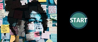 A woman's face in front of a wall covered in colourful post-it notes with writing