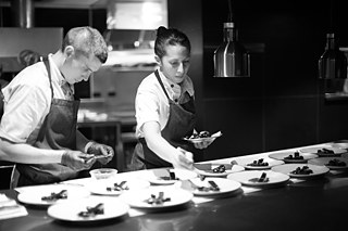 Fiso and Gnojczak plating desserts at the Chef's counter