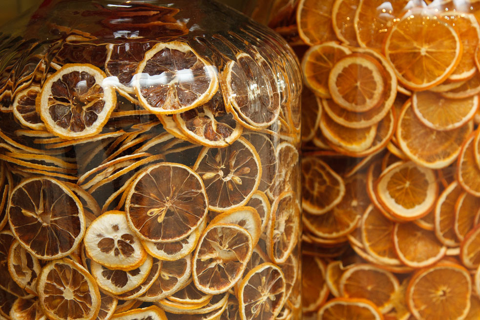 All-time favorite: the dried oranges and lemons for cooking tea and baking.