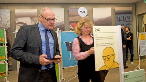 Johannes Ebert, secretary-general of the Goethe-Institut, is one of the first to try playing the Wallpeckers game