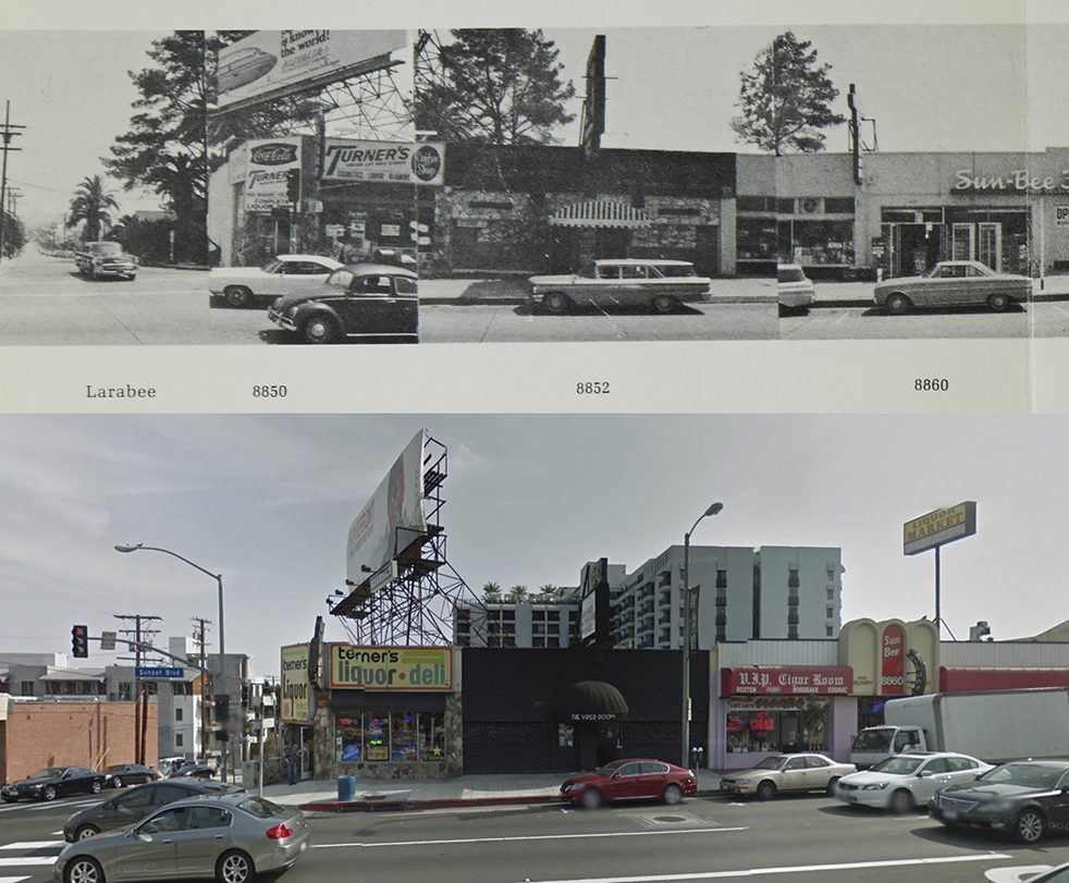 Melody Room and the Viper Room at 8852 Sunset Blvd, 1966 and 2011
