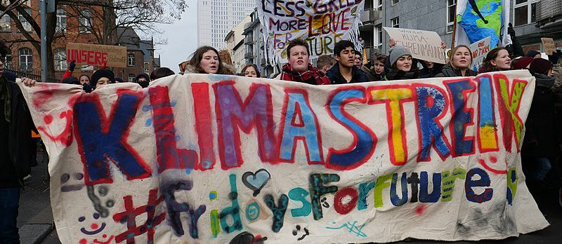 Fronttransparent der FridaysForFuture Demonstration am 25. Januar 2018 in Berlin