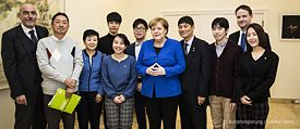 Chancellor Angela Merkel meets German students of the Goethe-Institut in Tokyo