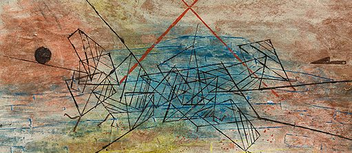 """Gefecht (Battle),"" 1930, gouache on cardboard, by Paul Klee, Swiss, 1879–1940."