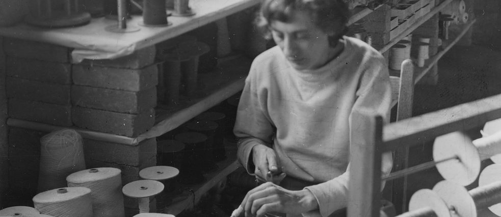 Anni Albers winding a bobbin at Black Mountain College, 1941