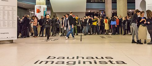 "Full house at the opening of the complete exhibition of ""bauhaus imaginista"" on March 14 in Berlin. Photo: Laura Fiorio/HKW"