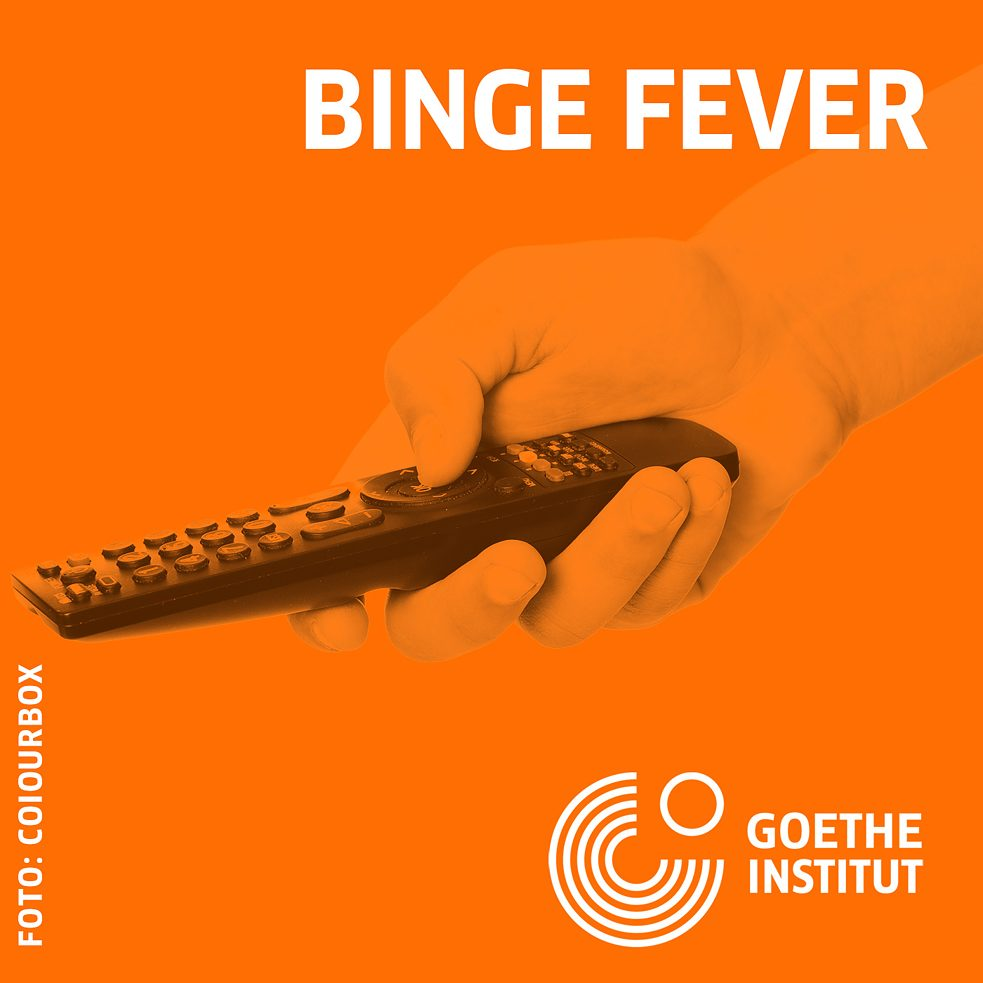 Binge Fever Spotify Playlist Illustration of a hand holding a remote control