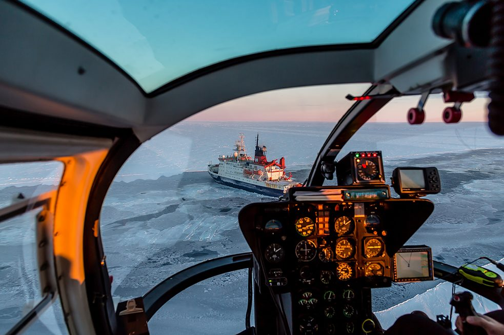 Three additional icebreakers and airplanes will keep the team supplied; helicopters, snowcats and snowmobiles will transport people and material.