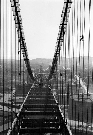 Painters Giving Suspender Cables a First Coat of Aluminum Paint, San Francisco-Oakland Bay Bridge (1934) by Peter Stackpole