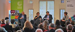 """Culture in times of uncertainty"", discussed in Brussels Johannes Ebert, Secretary General of the Goethe Institute, Kateryna Botanova, co-curator of Culturescapes, Sir Ciarán Devane, CEO of the British Council and Gitte Zschoch EUNIC Global"
