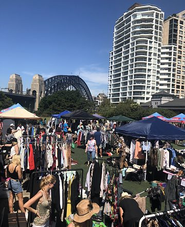 Skyline over the Kirribilli Market.