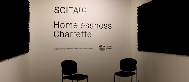 Foto der SCI-Arc Homeless Charrette Interview Kabine