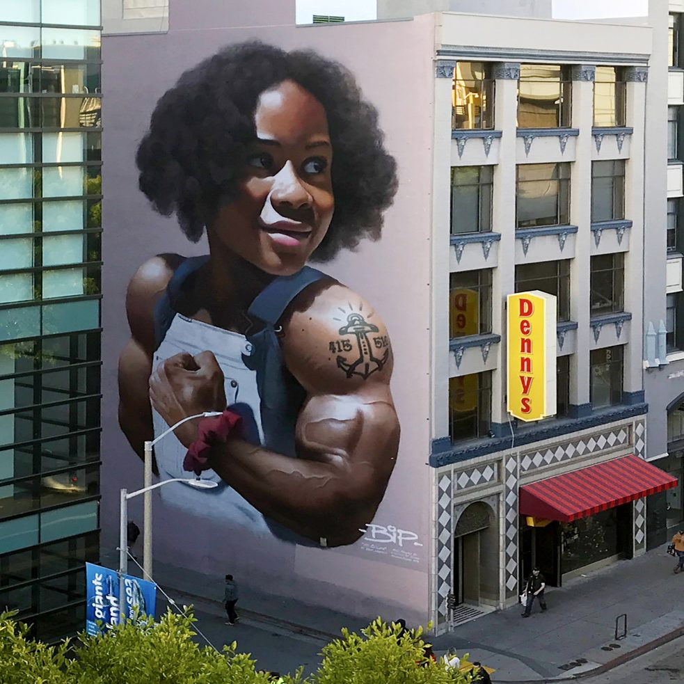 "#artbits - ""No Ceiling"" by  BiP,  Mission St. & Jones St. in San Francisco - http://www.bipgraffiti.com"