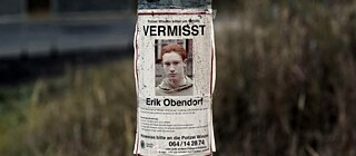 Missing Eric Obendorf poster on a pole
