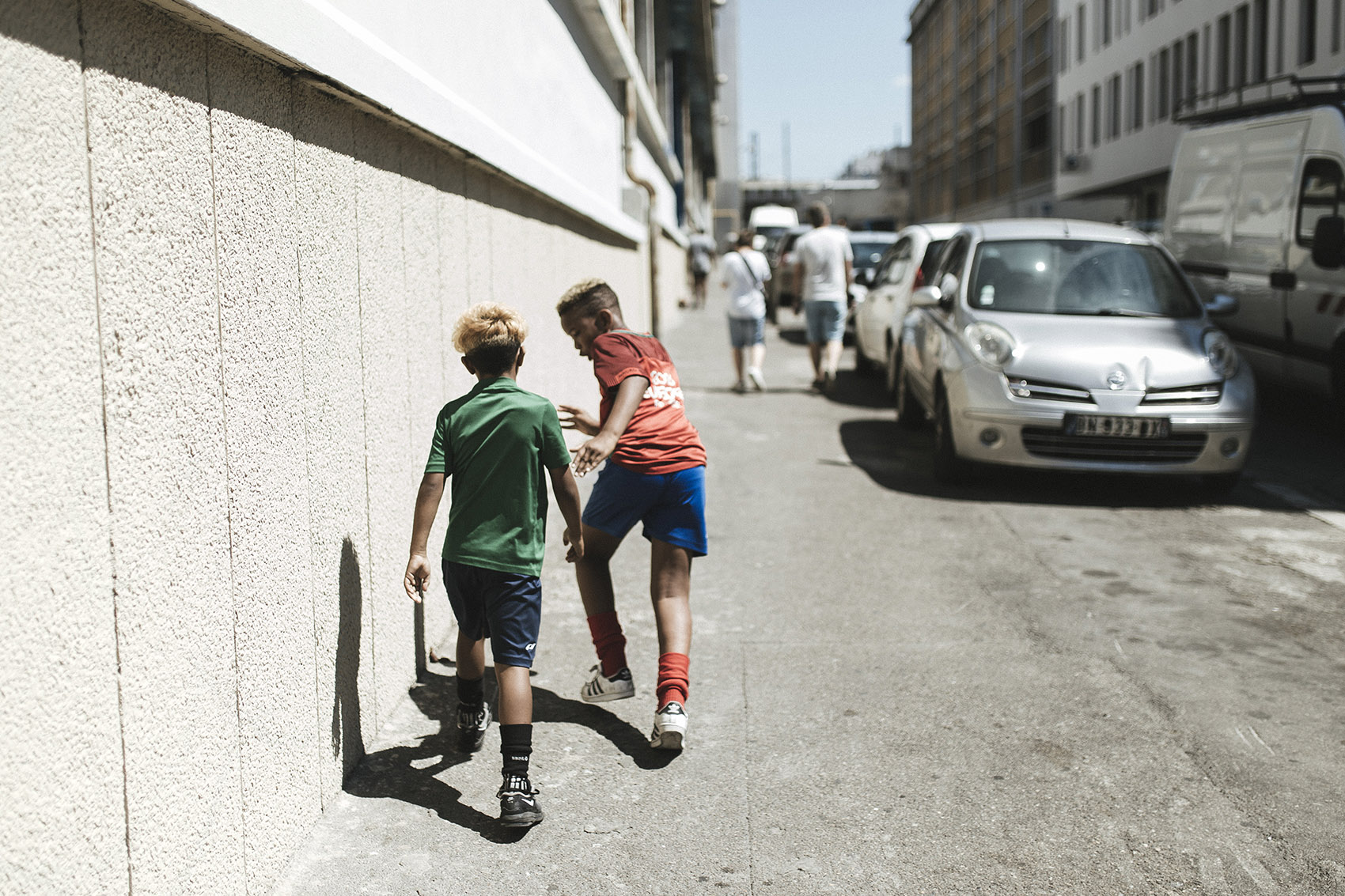 Children play in the streets of the Belle de Mai district.