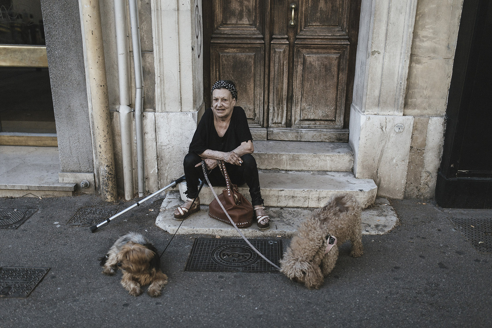 A woman with her dogs watches the street activity in the city centre.