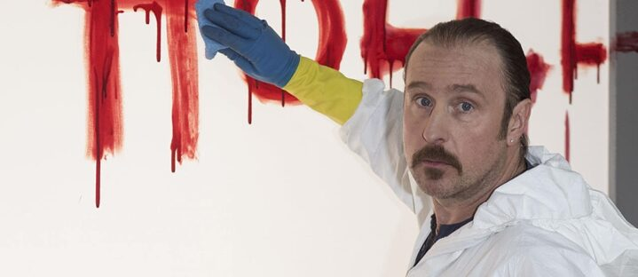 "Bjarne Maedel as the Crime Scene Cleaner on the set of the German NDR TV comedy series ""Der Tatortreiniger"""