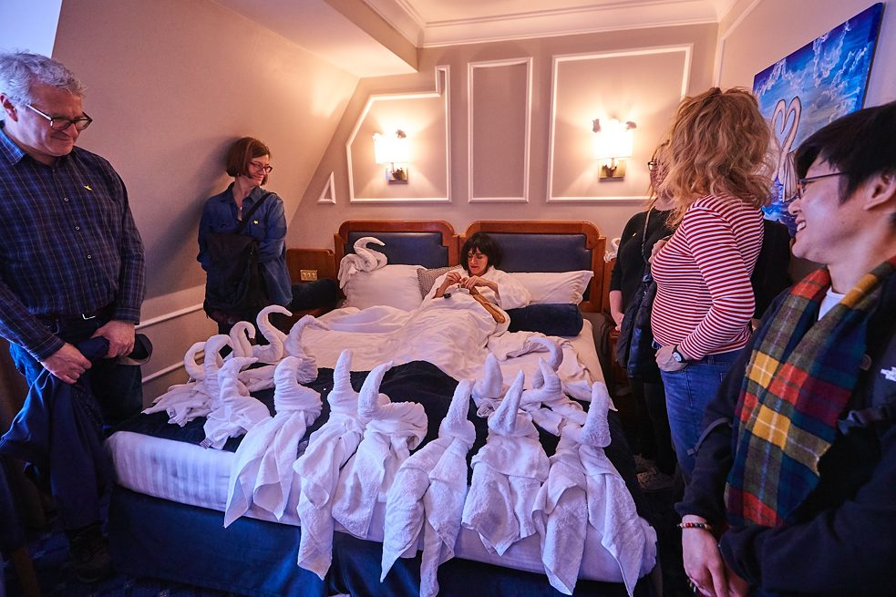 Folding Europe Towel Art Performance - bed