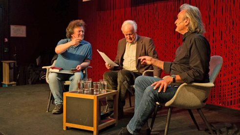 The Austrian writer Christoph Ransmayr (right) speaking with Erik Fosnes Hansen (left) and Sverre Dahl (centre)
