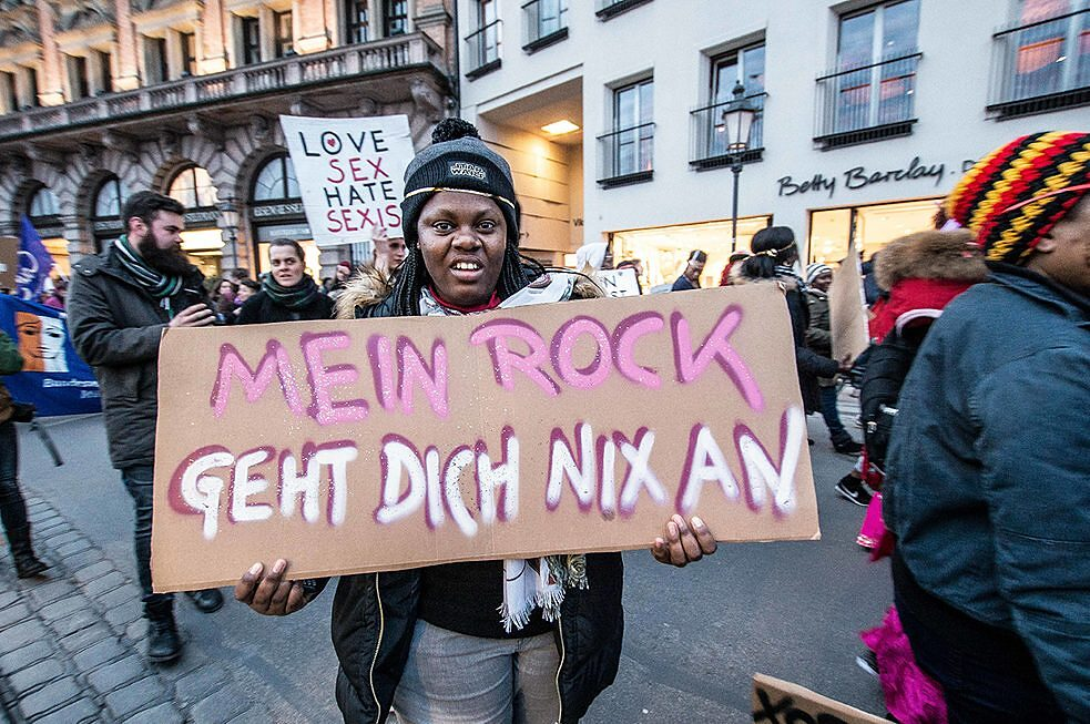 "Protests on International Women's Day, 8 March 2018, in Munich. The sign reads, ""My skirt is none of your business."""