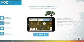 "<b>KEEP COOL mobil</b><br>How would climate change play out if you took the decisions? The online game <a href=""http://keep-cool-mobil.de/"" target=""_blank"">KEEP COOL</a> lets you find out. You take on the role of mayor of a major city and become one of 50 players in the round. Each one decides on an economic strategy, facing the trade-off between sustainability and growth. If global warming exceeds two degrees Celsius, all players lose. Youngsters and adults alike are thus challenged to engage intensively with the issues of climate change and climate policy."