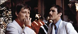 "The actors Rainer Werner Fassbinder and Peter Chatel in a scene in the movie ""Faustrecht der Freiheit"""