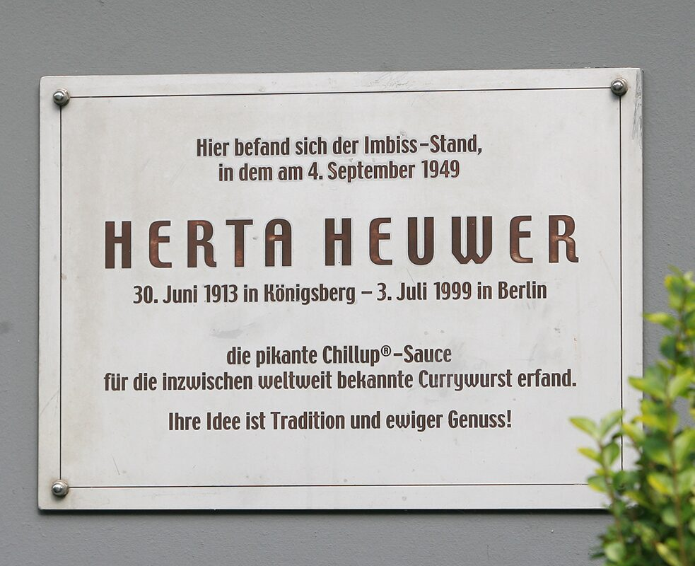 Memorial plaque to the mother of the <i>currywurst</i> in Berlin.