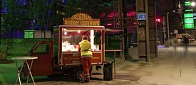 <i>Currywurst</i> snack stand in Berlin, the birthplace of the spicy, saucy, German sausage speciality.